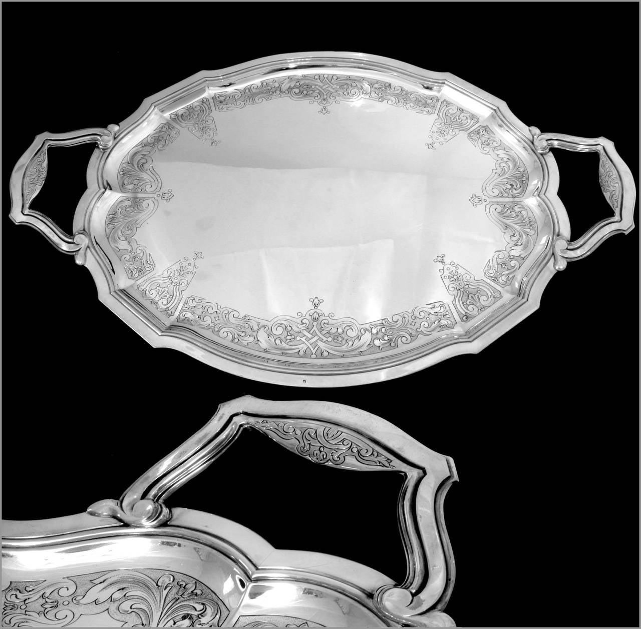 tetard imposing french sterling silver serving tray regence 2473 gr at 1stdibs