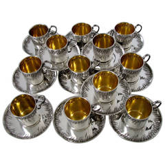 Boulenger Rare French Sterling Silver Vermeil Twelve Coffee Tea Cups Saucers