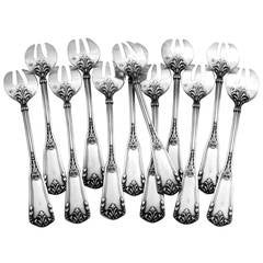 Soufflot Antique French All Sterling Silver Oyster Forks Set 12 pc