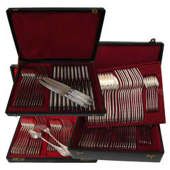 Puiforcat/Debain French Sterling Silver Flatware Set 126 pc w/Chests Art Nouveau