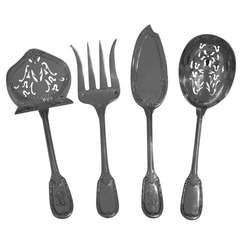 PUIFORCAT French Sterling Silver Hors D'oeuvre Set 4 pc Neo Classical