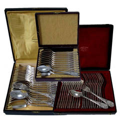 Puiforcat Fabulous French Sterling Silver Flatware Set 60 pc Rococo w/boxes