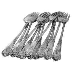 PUIFORCAT French Sterling Silver Dinner Flatware Set 12 pc Rococo