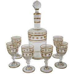 St. Louis Antique French Crystal Gilded Liquor or Aperitif Serving Set