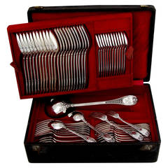 Henin Incredible French Sterling Silver Flatware Set 61 pc Mascaron with Chest