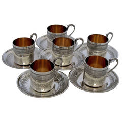 Molle French Sterling Silver Vermeil 6 Coffee Tea Cups w/Saucers Imperial Eagles