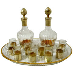 Rare French Sterling Silver Vermeil Baccarat Cut Crystal Liquor Service