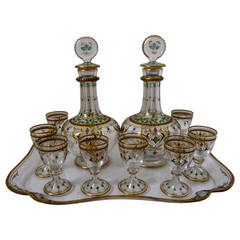 1870s Exceptional French Baccarat Enameled Crystal Liquor Service