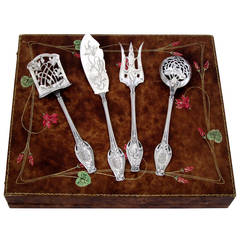 Soufflot Masterpiece French All Sterling Silver Dessert Set 4 pc chest Cyclamen