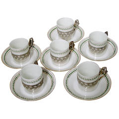 1870s French Sterling Silver Porcelain of Paris Six Tea Cups w/Saucers Empire