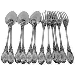 PUIFORCAT French Sterling Silver Dessert Entremet Flatware Set 12 pc Roses