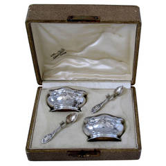 Puiforcat French Sterling Silver Vermeil Salt Cellars Pair Box Art Nouveau