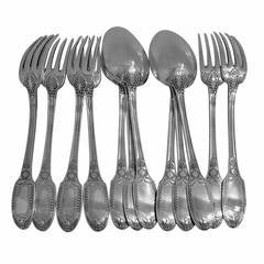 Puiforcat Rare French Sterling Silver Dinner Flatware Set 12 pc Swans