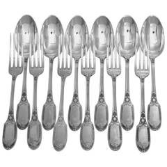 Puiforcat Rare French Sterling Silver Dessert/Entremet Flatware Set 12 pc Swans