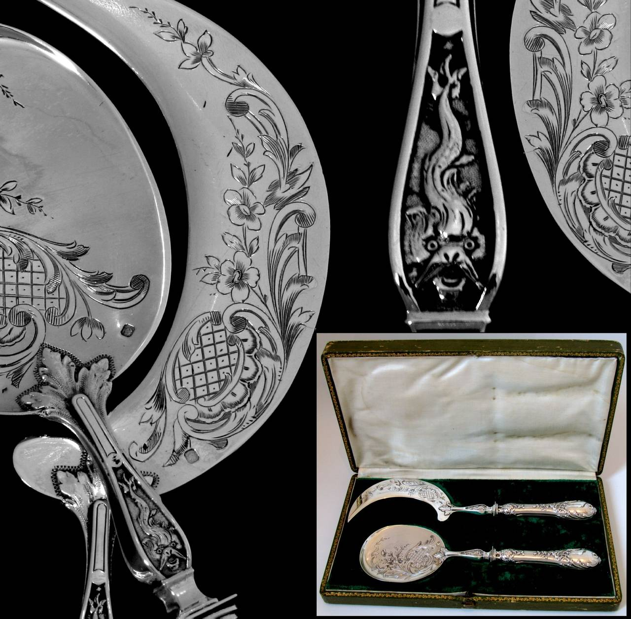 Fabulous French All Sterling Silver Ice Cream Set 2 pc Rococo with Box Dolphin 3
