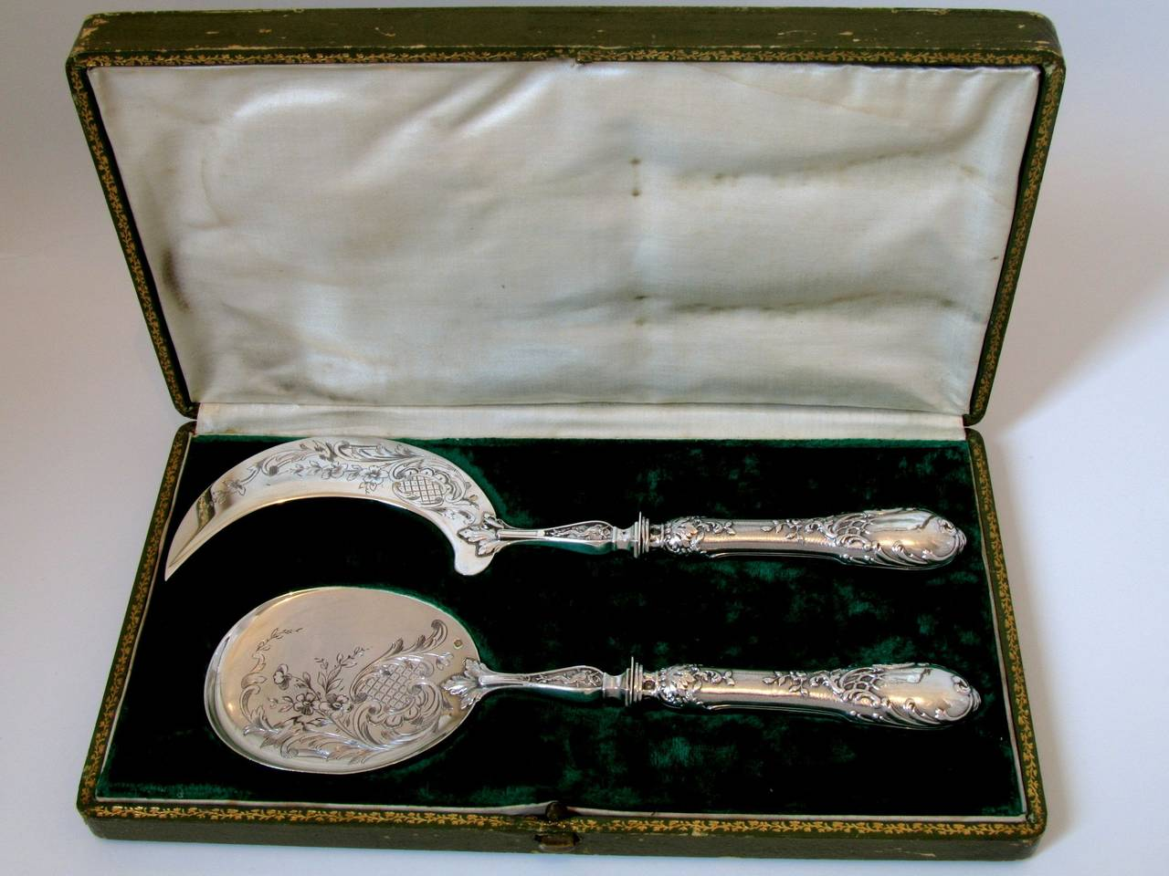 Fabulous French All Sterling Silver Ice Cream Set 2 pc Rococo with Box Dolphin 2