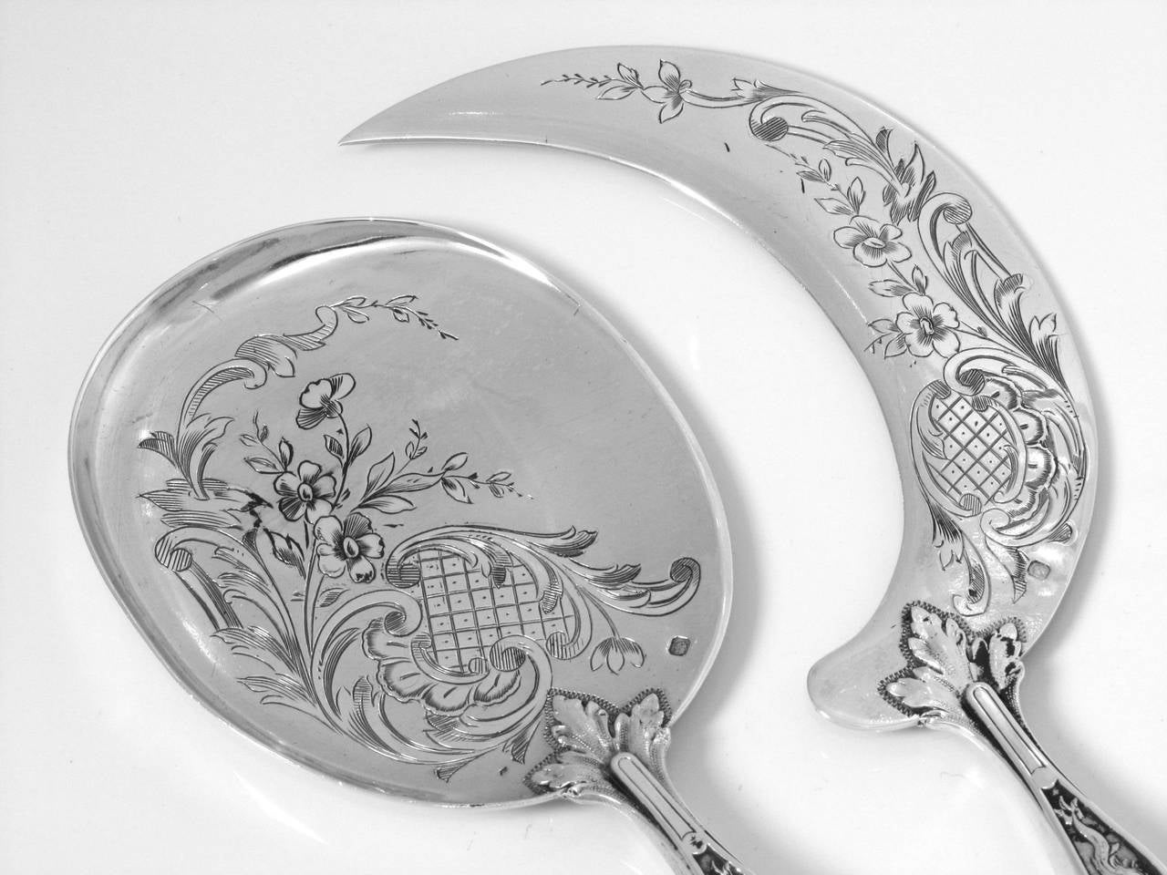 Fabulous French All Sterling Silver Ice Cream Set 2 pc Rococo with Box Dolphin 9