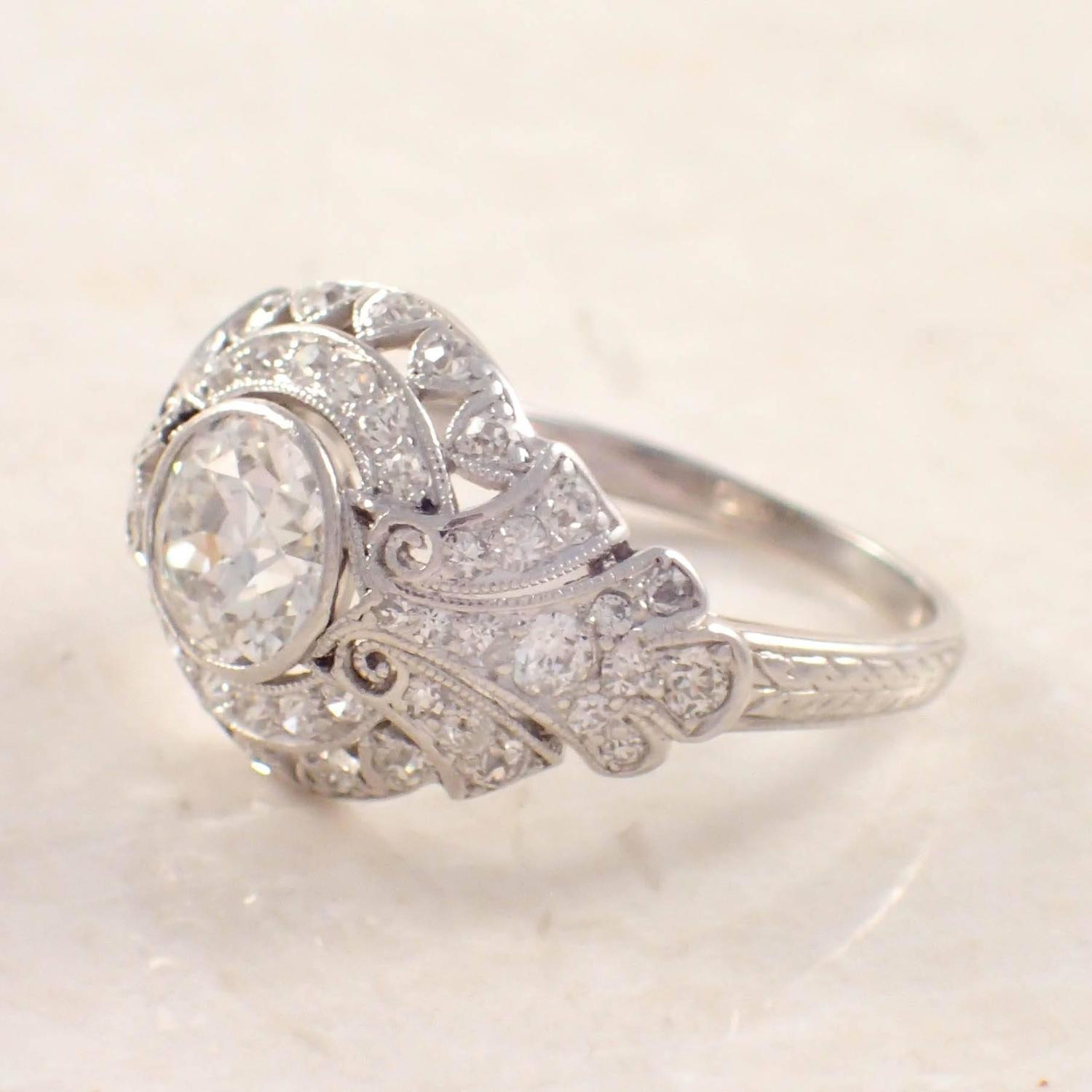 1920s deco platinum engagement ring and custom band at 1stdibs