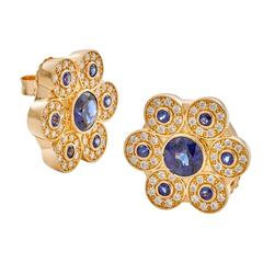 Ceylon Blue Sapphire Diamond Gold Earrings