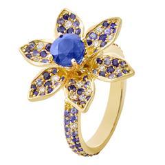 Blue Cave Ceylon Blue Sapphires Diamonds Gold Ring