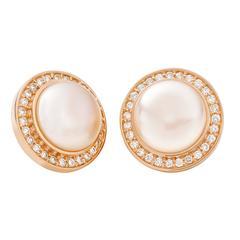Stena Pearl Diamond Gold Stud Earrings