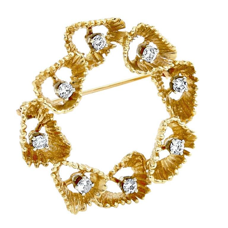 Modernist Diamond Gold Freeform Brooch