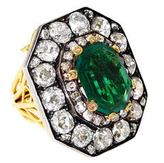 Victorian No Oil Colombian Emerald Old Mine Diamond Ring and Pendant