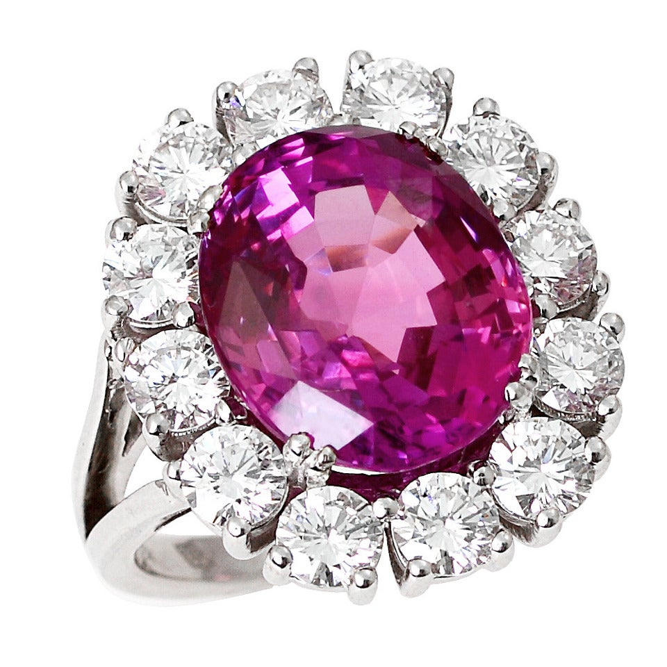 Pink Ruby Jewellery: Pink Sapphire Diamond Gold Cluster Ring For Sale At 1stdibs