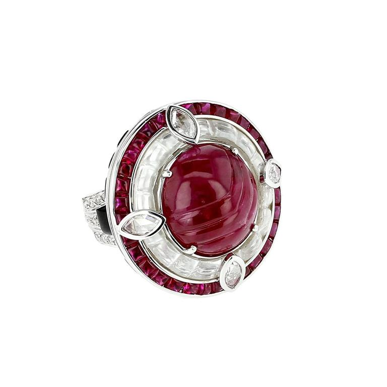 Ruby Diamond Black Jade Gold Ring 2
