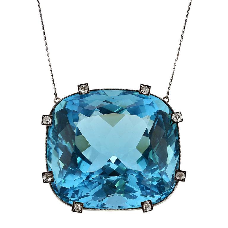 Rare Natural Aquamarine Diamond Silver Pendant