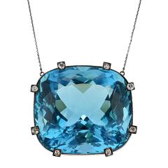 Rare Natural Aquamarine Diamond Silver Pendant