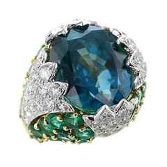 David Webb 38 Carat Natural No Heat Burma Sapphire Emerald Diamond Gold Ring