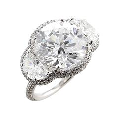 GIA Certified 8 Carat Diamond Three-Stone Gold Ring