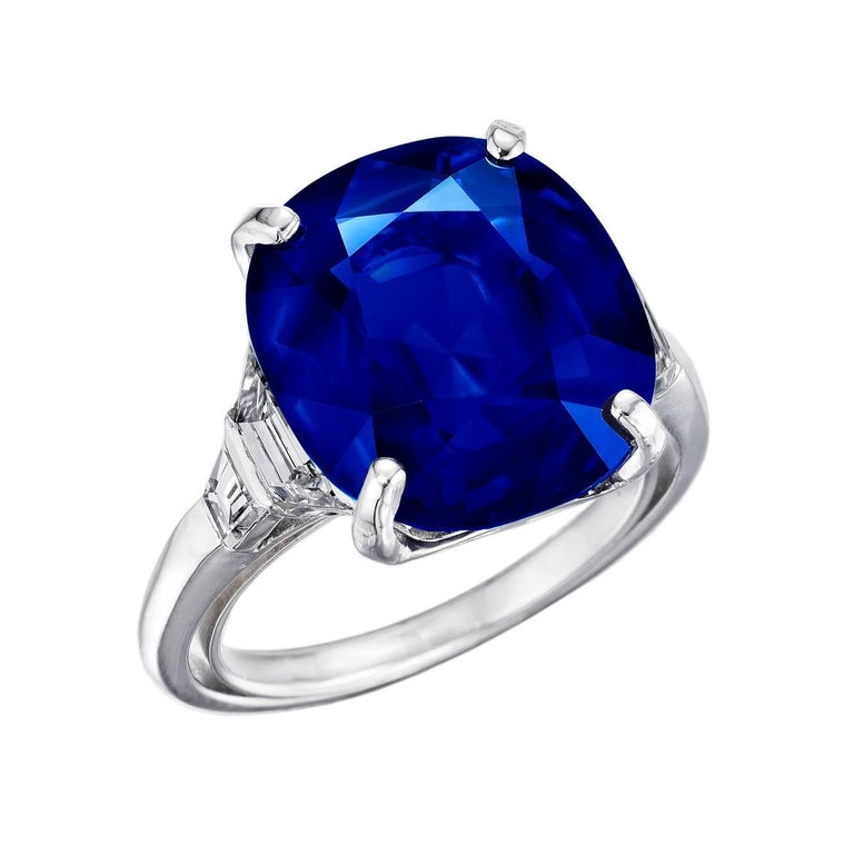 Exceptional 13 Carat Natural Kashmir Sapphire and Diamond Ring