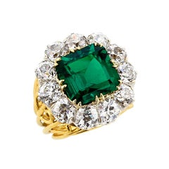 Magnificent 5 Carat No Oil Muzo Colombia Emerald and Old Mine Diamond Gold Ring