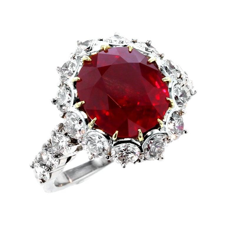 Garrard London 5 Carat Pigeon's Blood Burma Ruby Diamond Cluster Platinum Ring For Sale