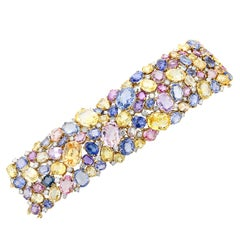 Natural No Heat Fancy Color Sapphire and Diamond Gold and Platinum Cuff Bracelet