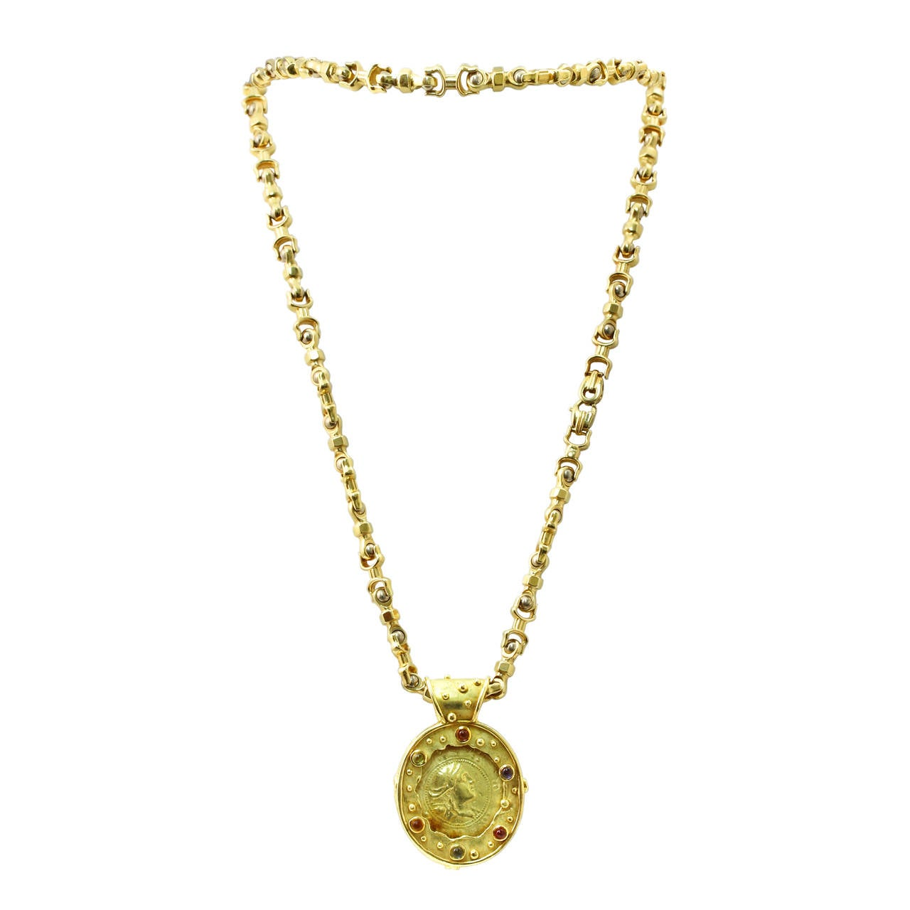 Robergé Multi Gem and Gold Coin Necklace