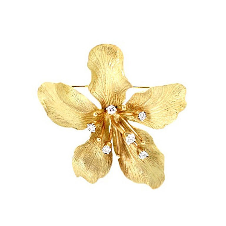 Tiffany & Co. Diamond Gold Flower Brooch