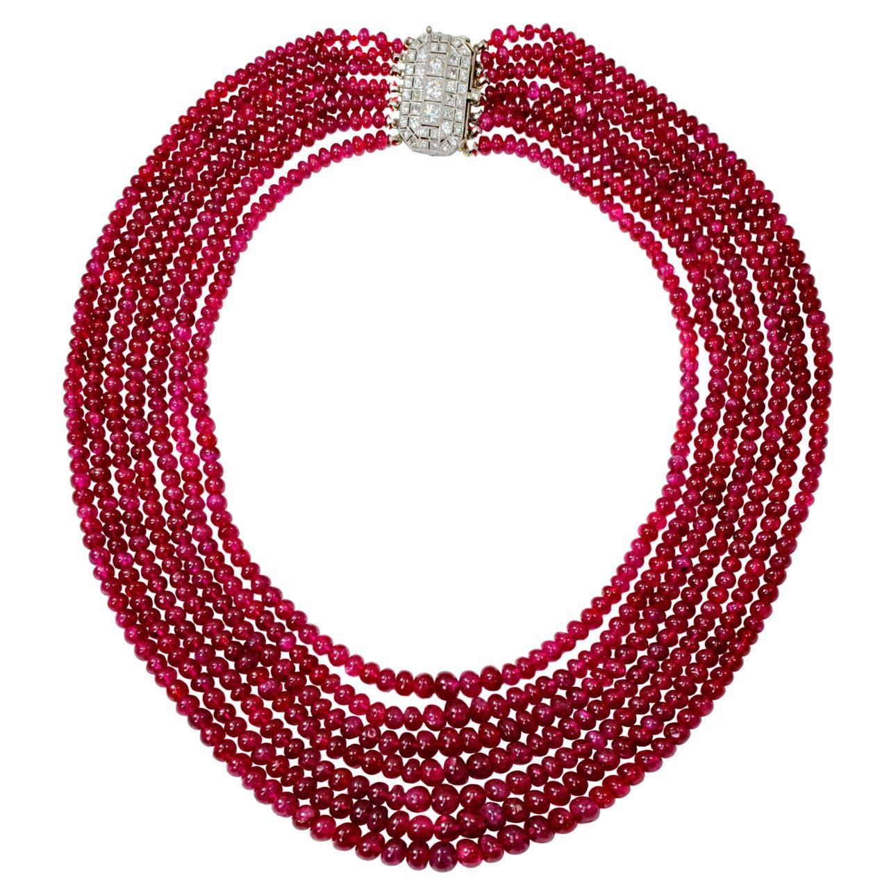 deco burma ruby seven strand bead