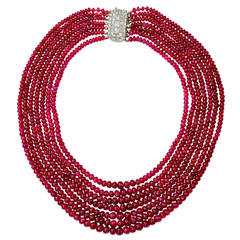 Art Deco Rare Natural Burma Ruby Seven Strand Bead Necklace