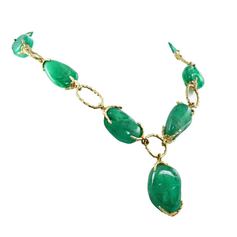 Colombian Emerald Gold Link Necklace For Sale at 1stdibs