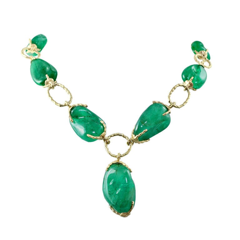 Colombian Emerald Gold Link Necklace