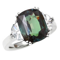 7 Carat Alexandrite Diamond Platinum Three Stone Ring