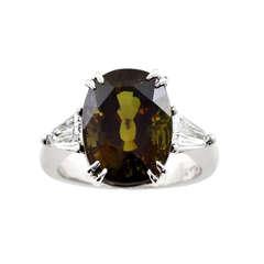 9.27 Carat Natural Alexandrite and Diamond Ring