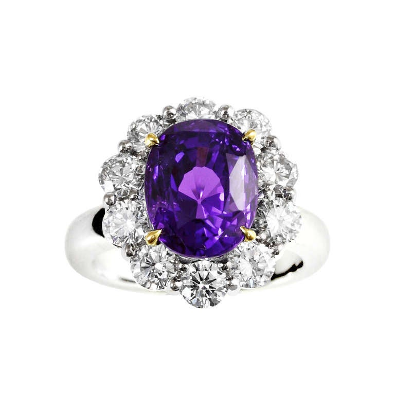 7.63 Carat No Heat Color Change Sapphire and Diamond Ring 2