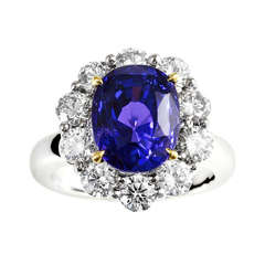 7.63 Carat No Heat Color Change Sapphire and Diamond Ring