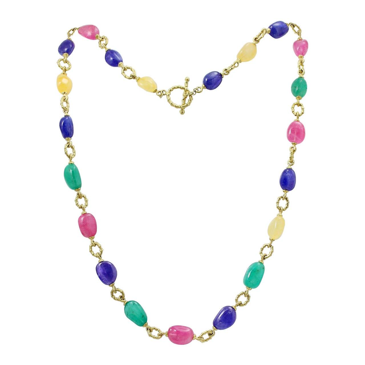 Multi Gem Gold Link Necklace