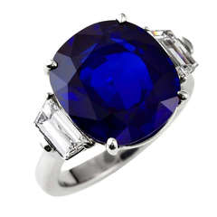 Exceptional 10 Carat Burma No Heat Sapphire Diamond Platinum Ring