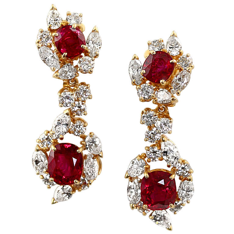 Boucheron Burma No-Heat Ruby and Diamond Earrings